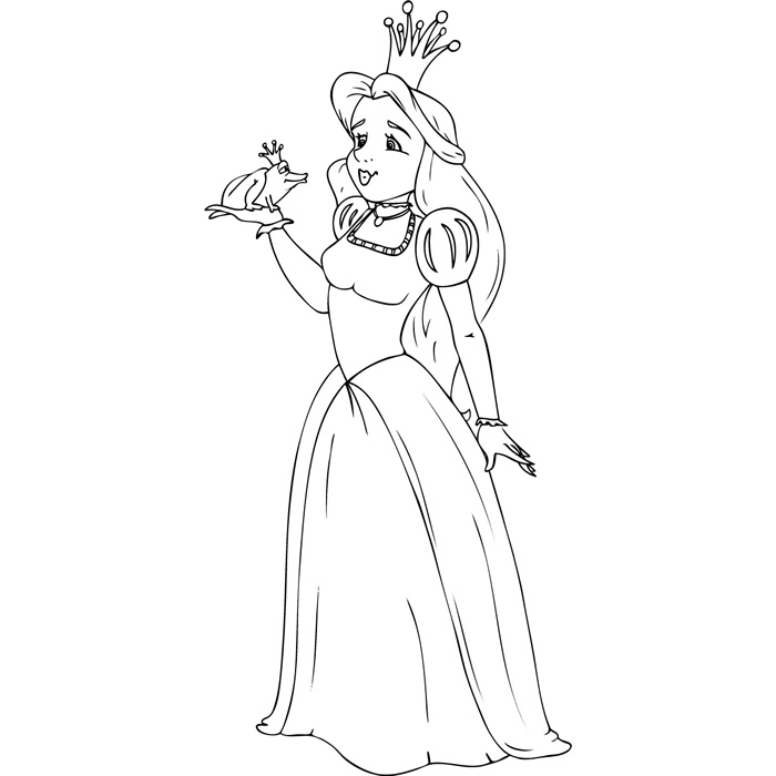 dessin à colorier dela princesse et la grenouille