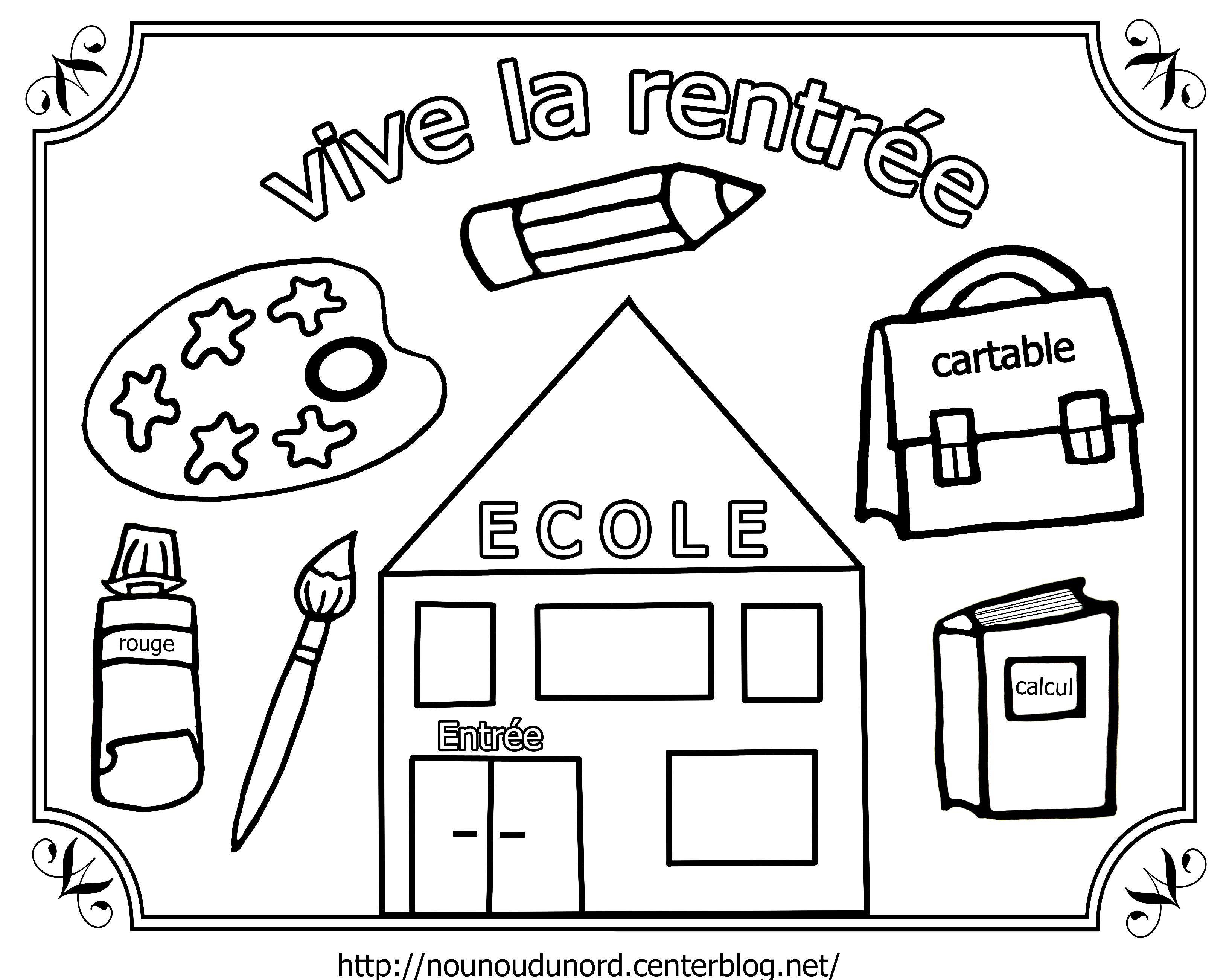 dessin colorier pour la rentree des classes. Black Bedroom Furniture Sets. Home Design Ideas