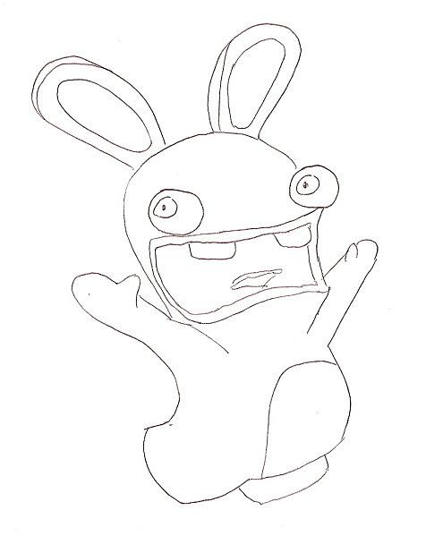 dessin à colorier lapin crètin gratuit