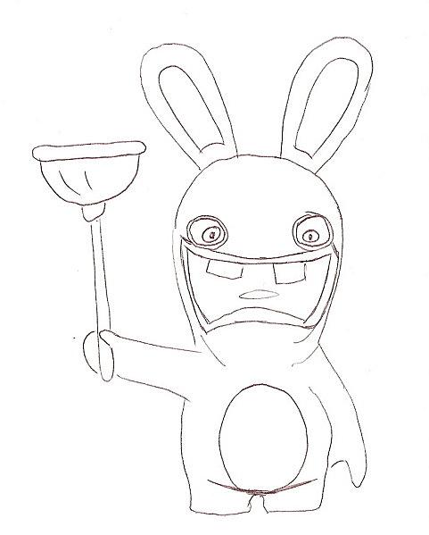 dessin à colorier lapin crètin
