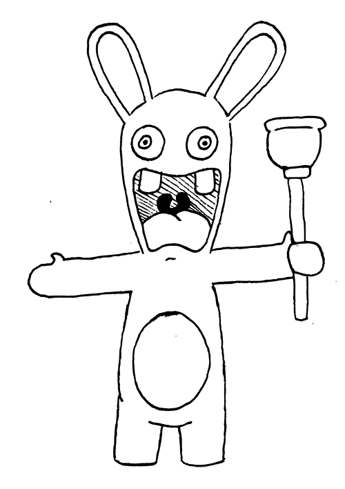 coloriage à dessiner lapin crètin gratuit