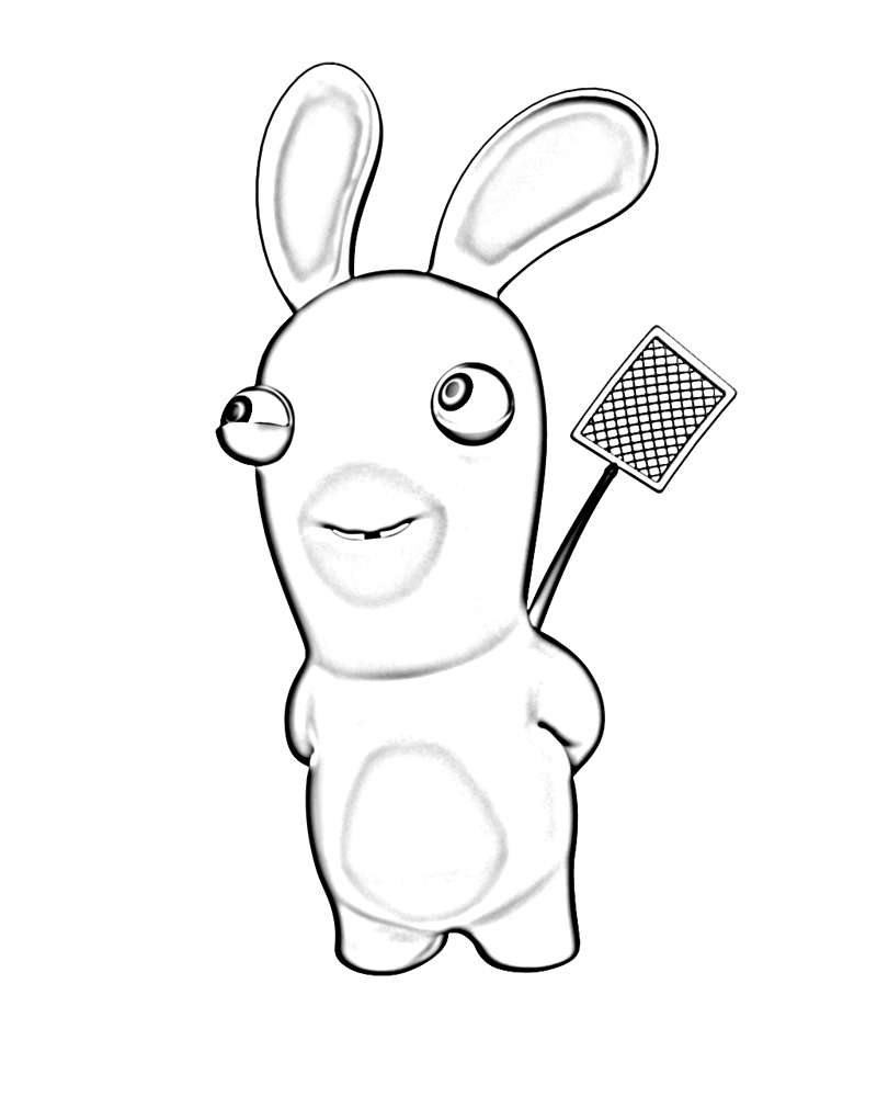 coloriage à dessiner lapin crètin en ligne