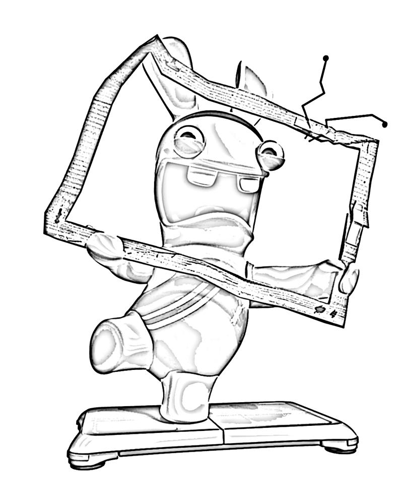 dessin à colorier lapin crètin en ligne
