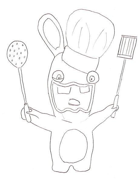 dessin lapin crètin a imprimer