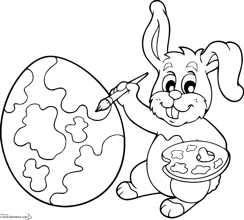 20 dessins de coloriage lapin de paques gratuit imprimer - Coloriage paques maternelle ...