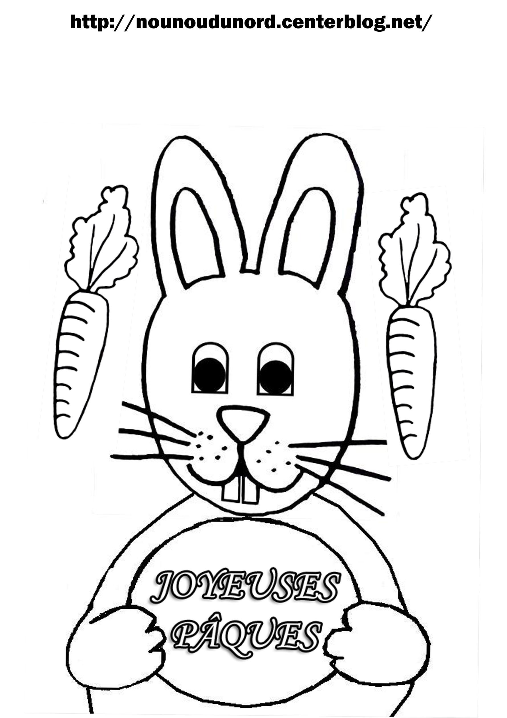 coloriage à dessiner de lapin de paques a imprimer