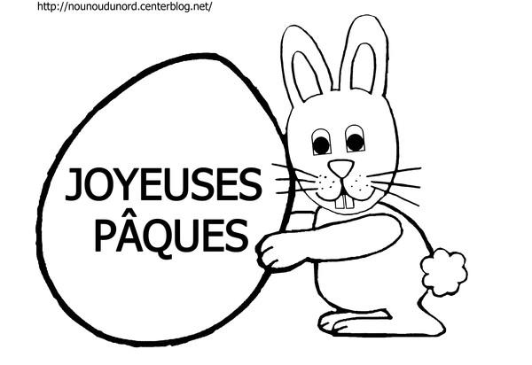 dessin à colorier de lapin de paques a imprimer