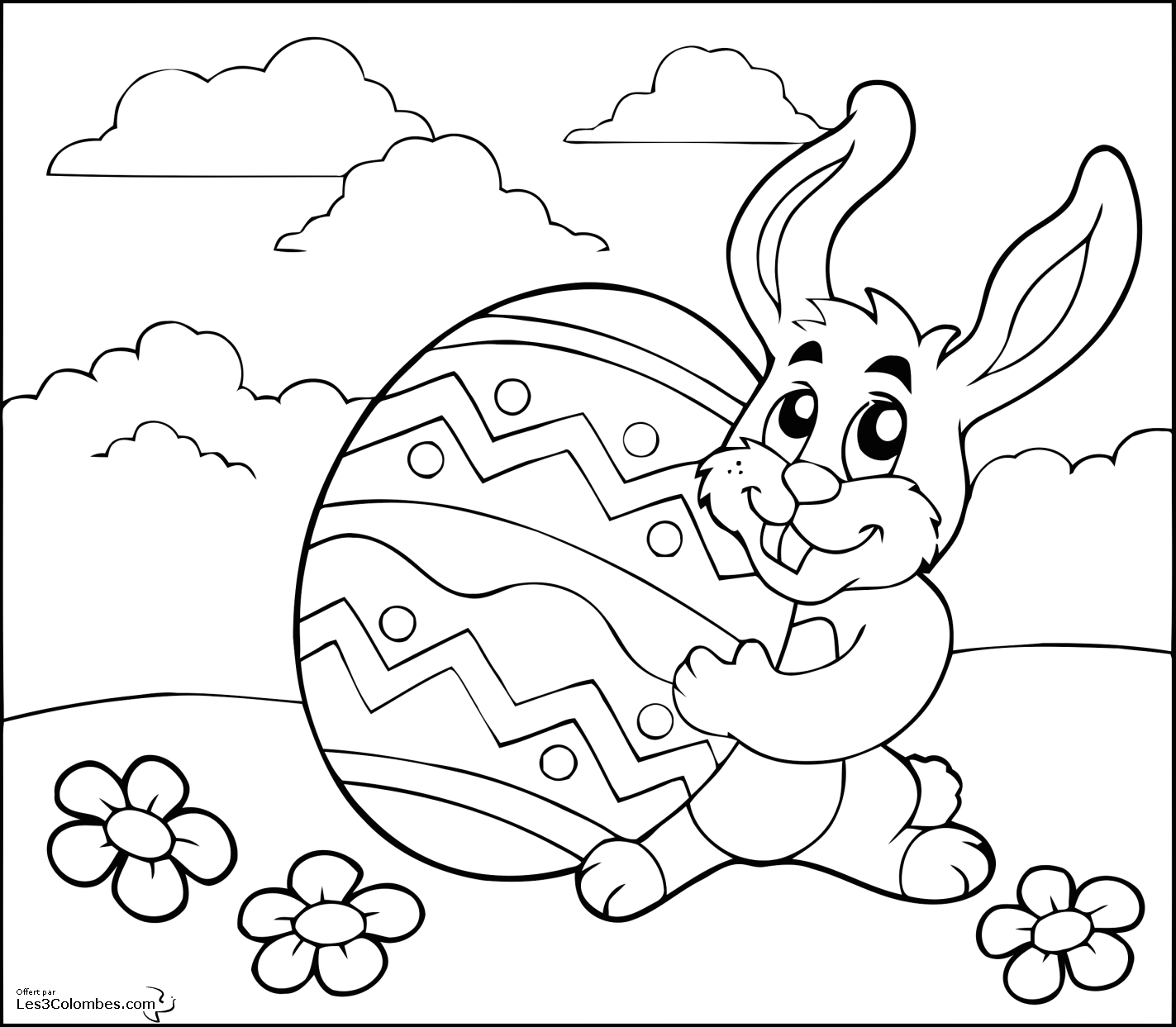 coloriage dessiner lapin avec oeuf de paques. Black Bedroom Furniture Sets. Home Design Ideas