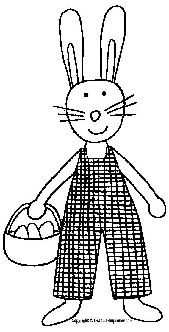 dessin lapin oeuf de paques