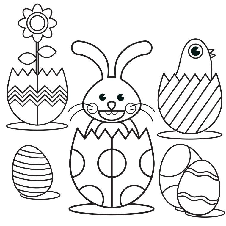dessin à colorier lapin de paques mignons