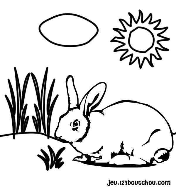 coloriage d'un lapin de paques