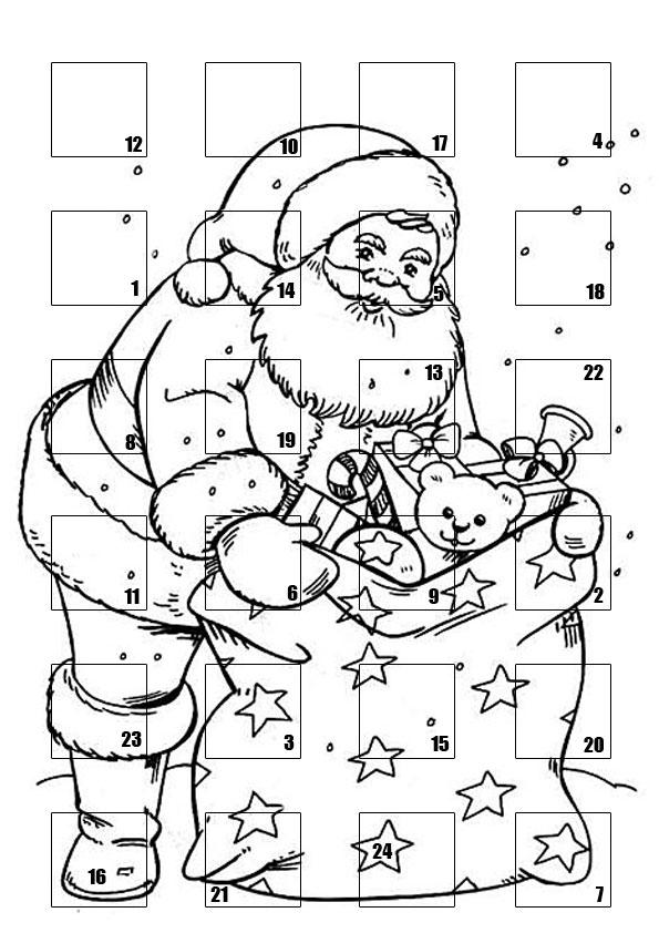 coloriage à dessiner calendrier de noel