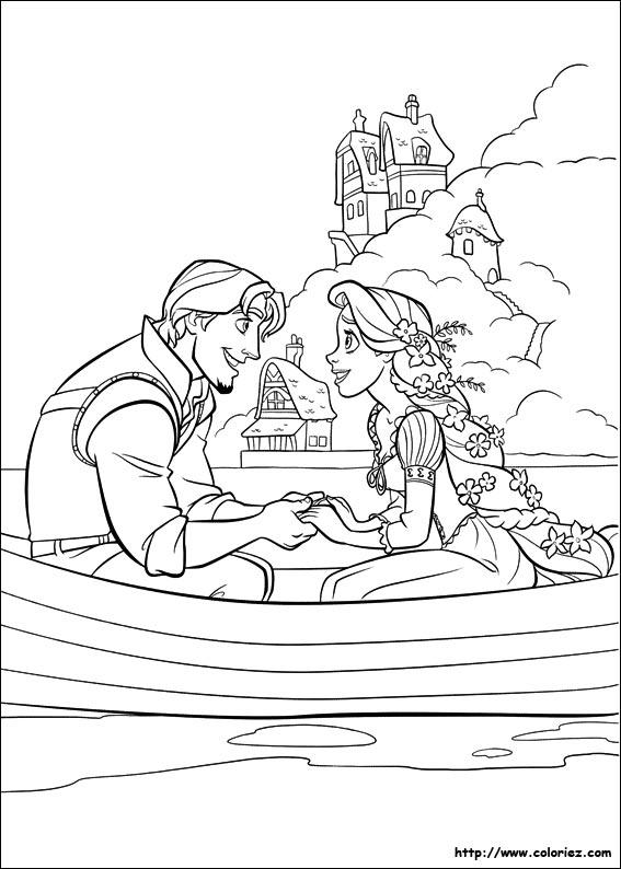 dessin � colorier le mariage de raiponce