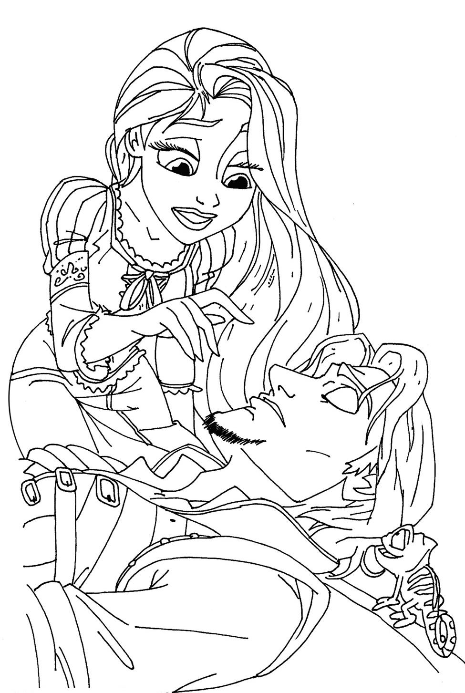 118 dessins de coloriage le mariage de raiponce imprimer - Dessin raiponce ...