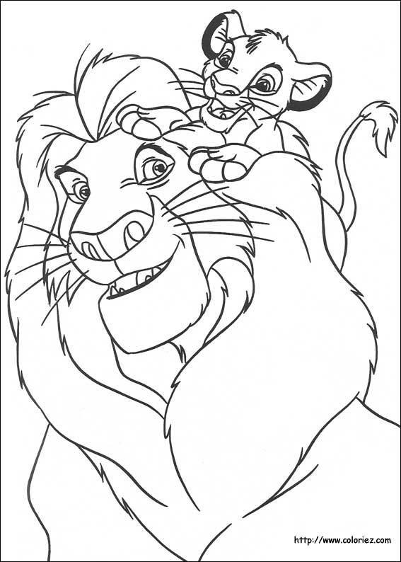 dessin à colorier roi lion gratuit en ligne