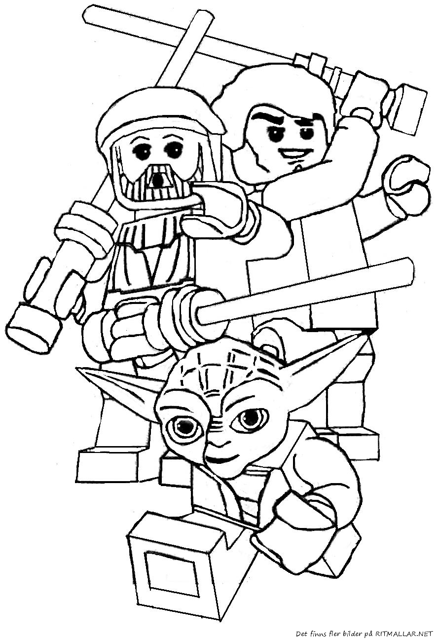 dessin à colorier lego star wars yoda
