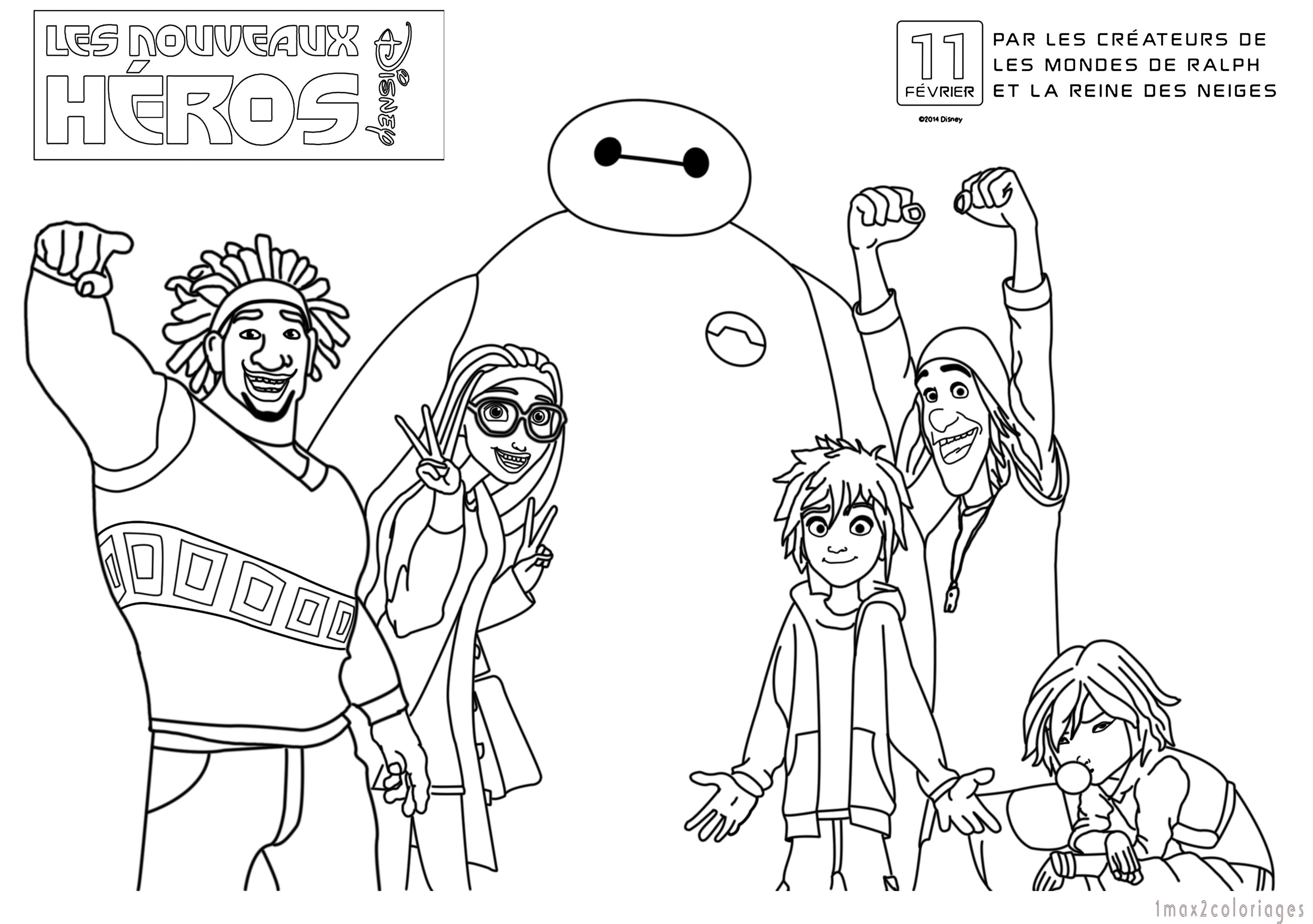 125 dessins de coloriage Les Nouveaux Héros à imprimer