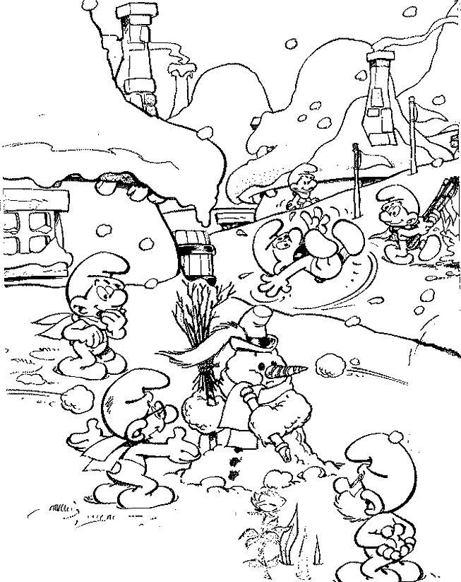 dessin à colorier gratuit les schtroumpfs