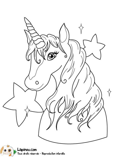dessin à colorier licorne volante