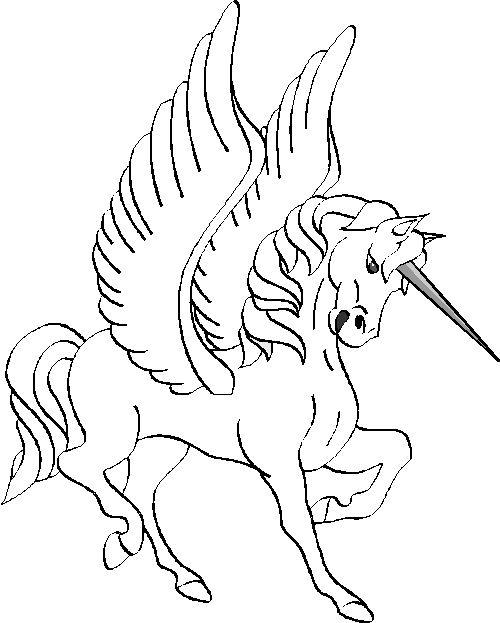 coloriage à dessiner licorne volante