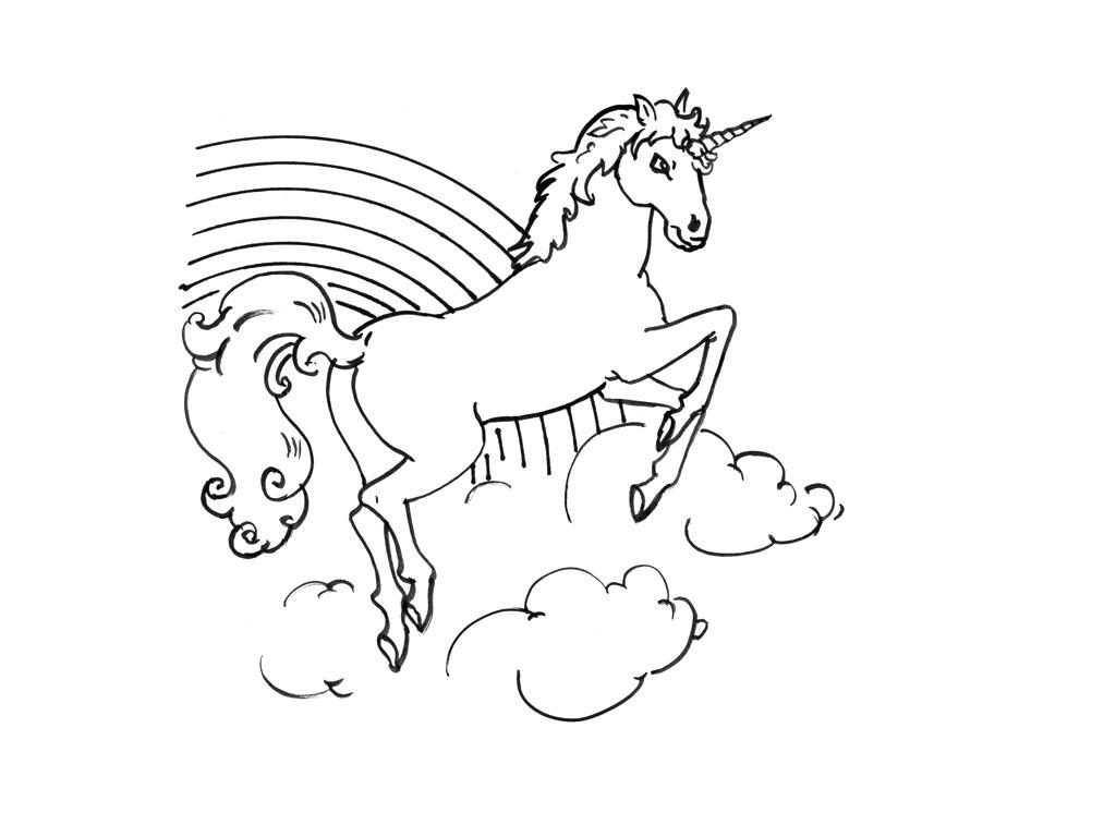 dessin à colorier licorne pégase