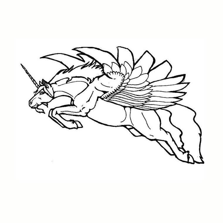 coloriage à dessiner de licorne de noel