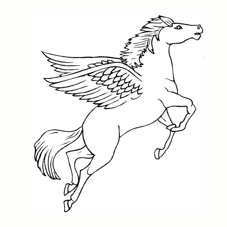 coloriage à dessiner licorne ailes
