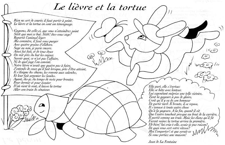 dessin lievre et la tortue