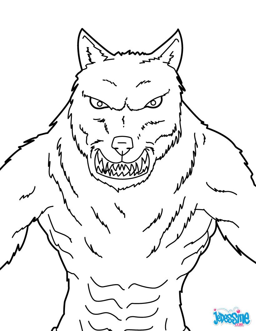 dessin à colorier de loup blanc