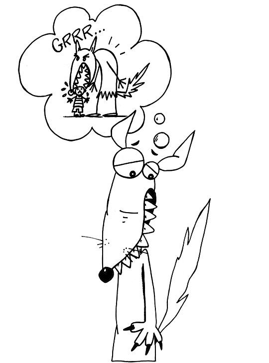 dessin à colorier loup du petit chaperon rouge
