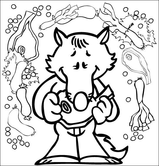 Coloriage le loup qui voulait faire le tour du monde - Petit loup dessin ...