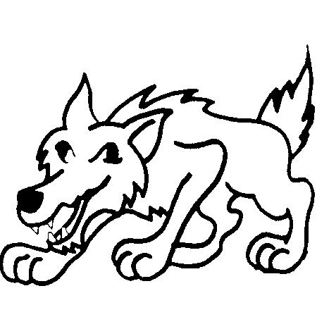 Coloriage loup 3 petit cochons - Petit loup dessin ...