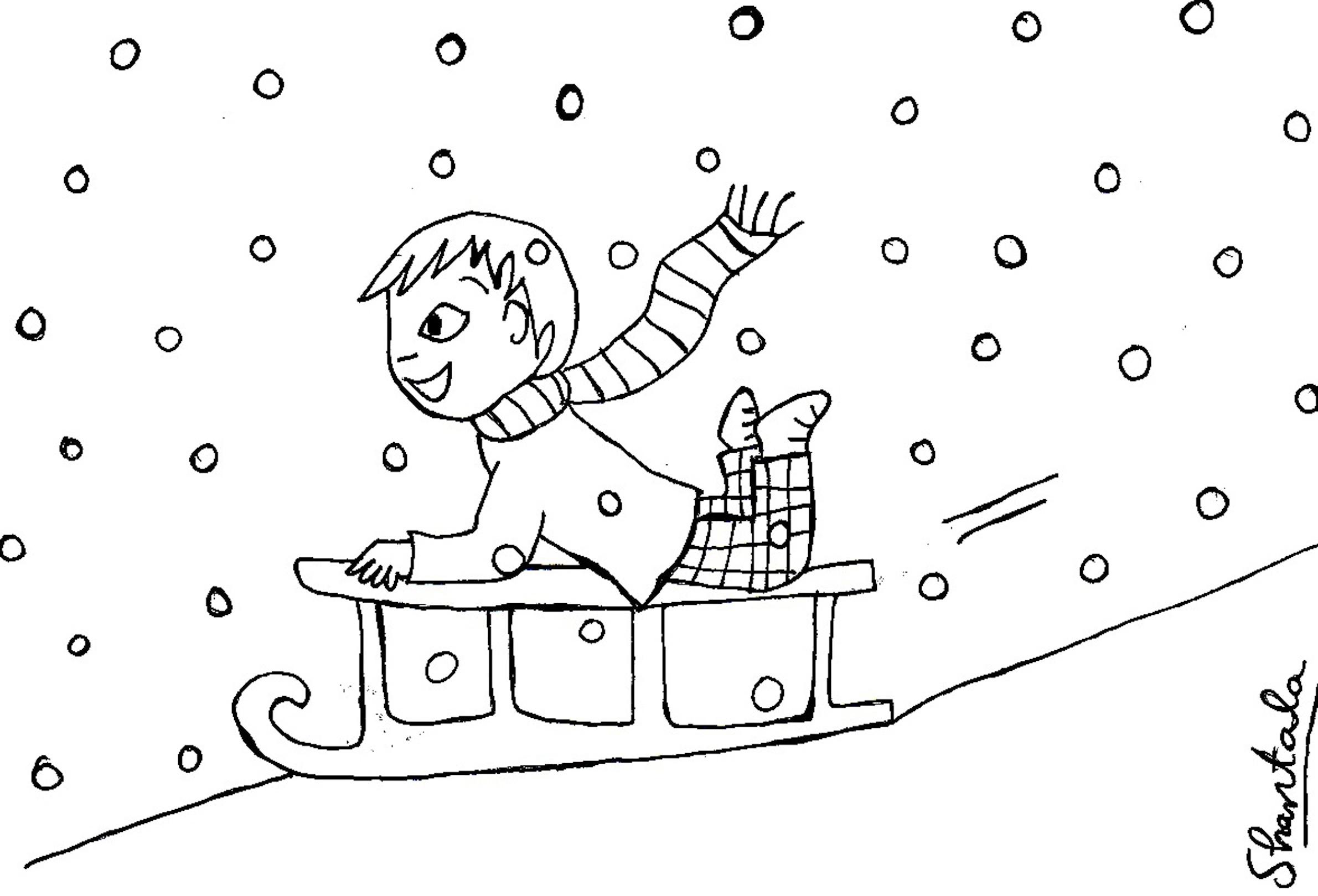 coloriage luge neige