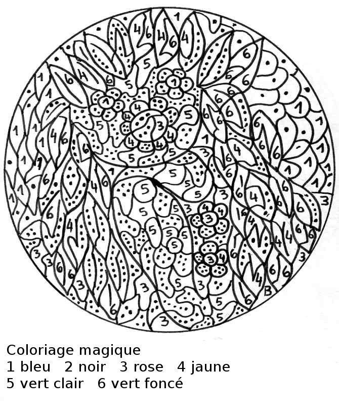 dessin à colorier magique difficile 3eme