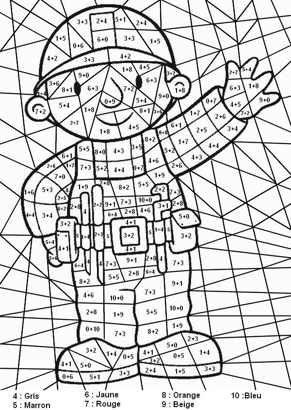 dessin � colorier magique addition de dizaines