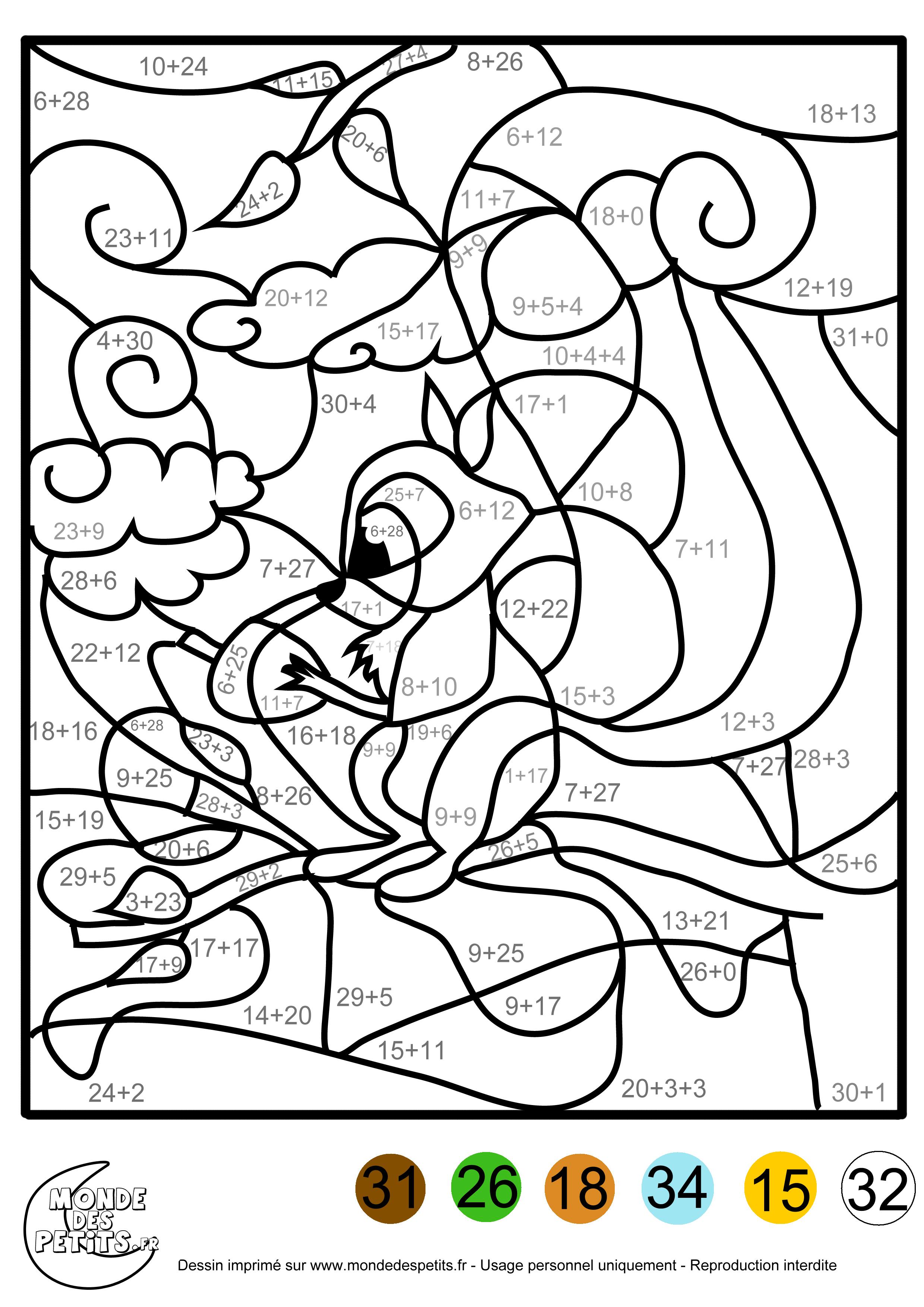 dessin à colorier magique addition jusqu'à 5