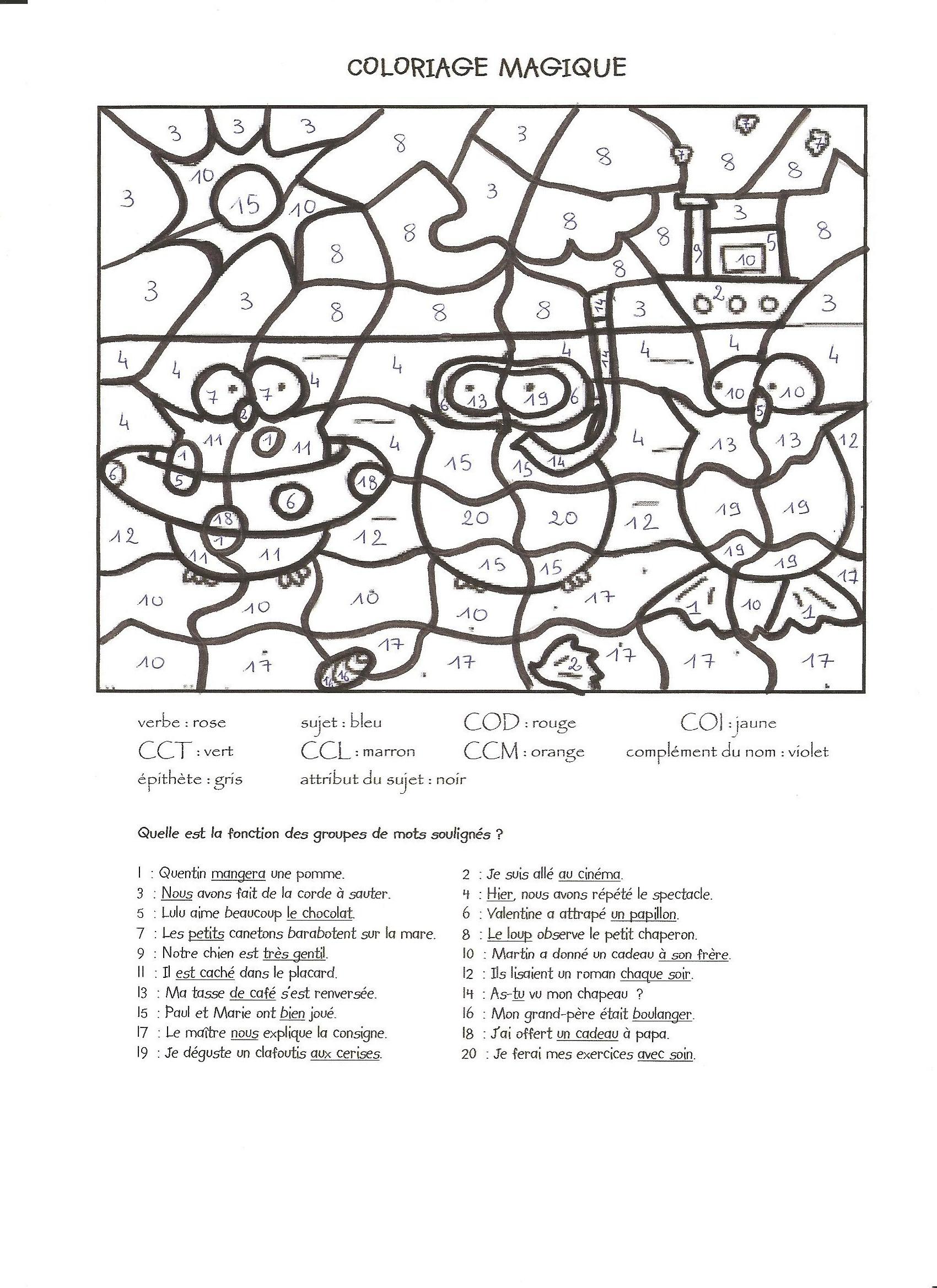 20 dessins de coloriage magique ce1 français à imprimer