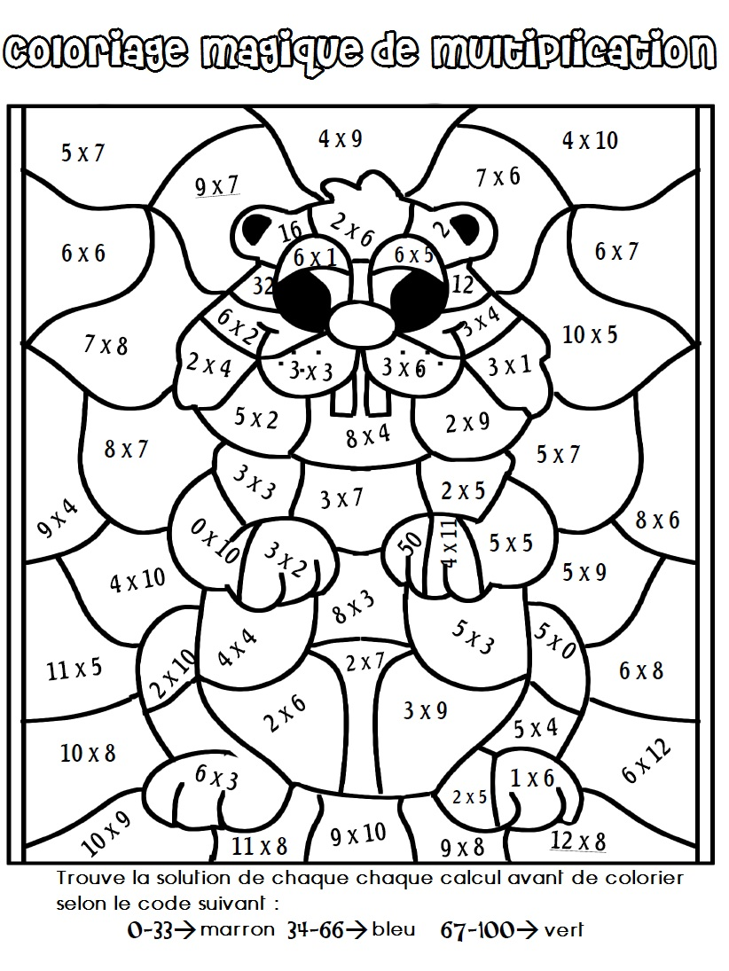 18 dessins de coloriage magique ce2 addition imprimer - Coloriage magique tables de multiplication ...