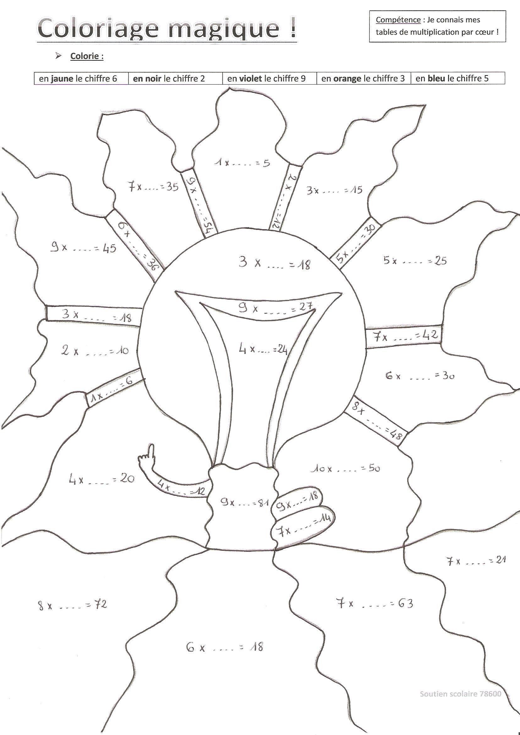 20 dessins de coloriage magique ce2 conjugaison imprimer - Coloriage magique tables de multiplication cm1 ...