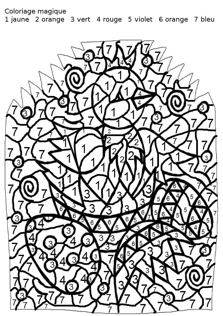 dessin à colorier magique en conjugaison ce2