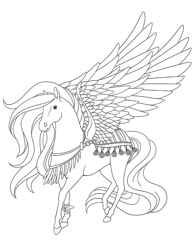 dessin à colorier barbie cheval magique