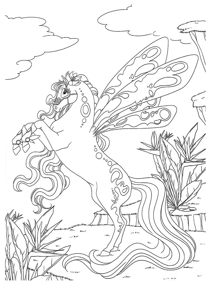 Dessin barbie cheval magique imprimer - Coloriage chevaux ...