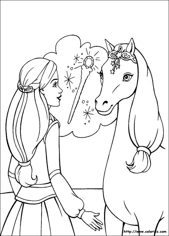 Coloriage barbie cheval magique a imprimer - Dessin cheval a imprimer ...