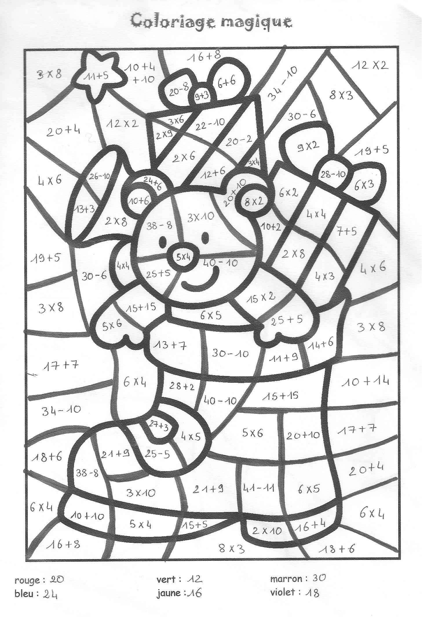 21 dessins de coloriage magique cm1 imprimer - Coloriage magique addition ce1 a imprimer ...