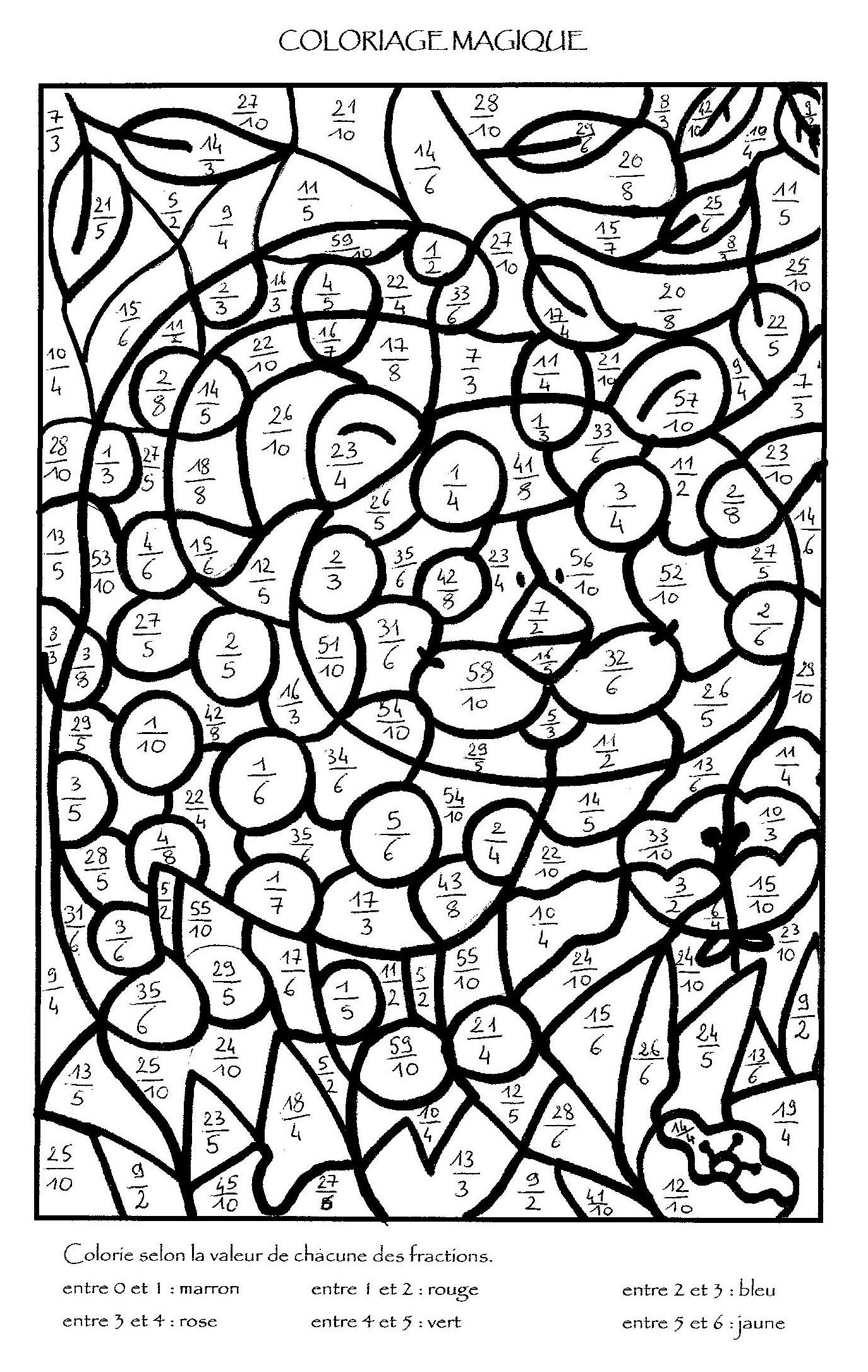 Coloriage Magique Unites Dizaines Centaines Ce2.Coloriage204 Coloriage Magique Fractions