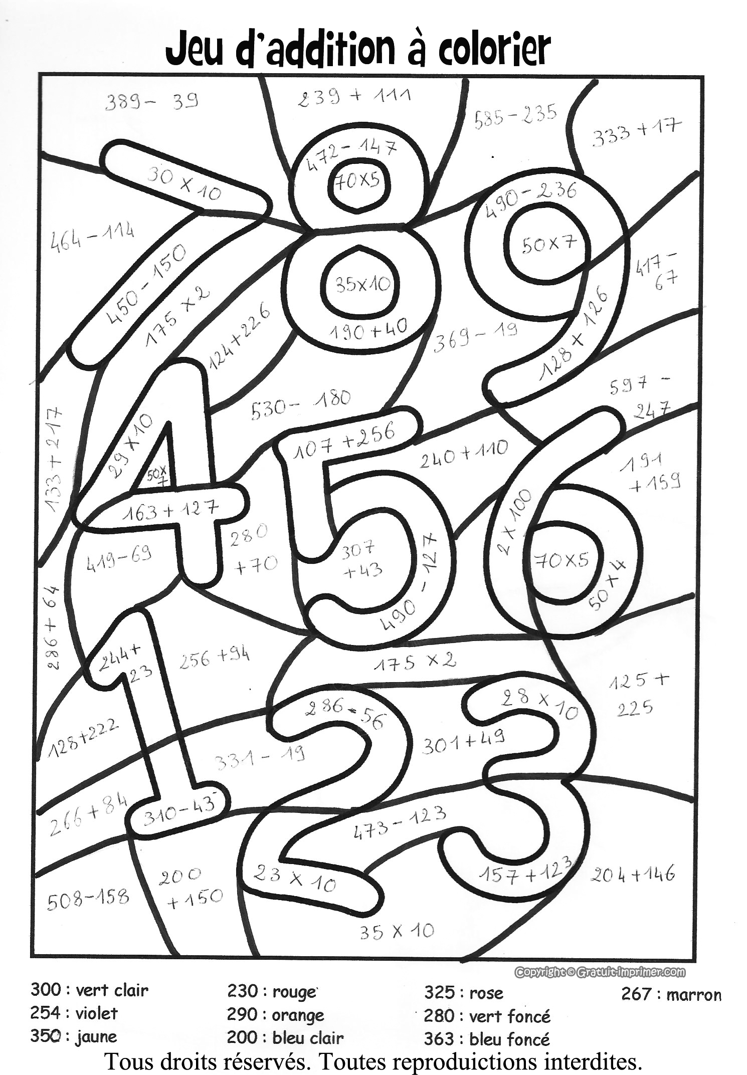 coloriage magique multiplication 10