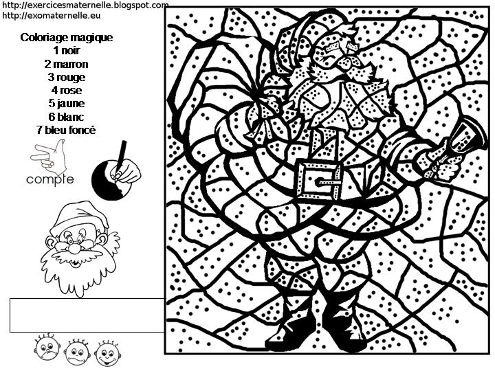 Dessin colorier magique de noel pour maternelle - Dessin theme noel ...