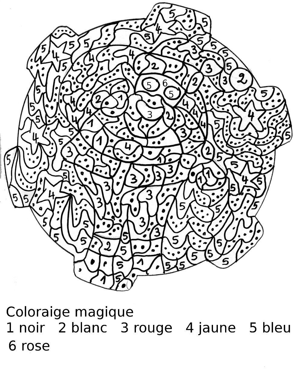 Dessin colorier magique noel cp imprimer - Coloriage magique difficile a imprimer ...