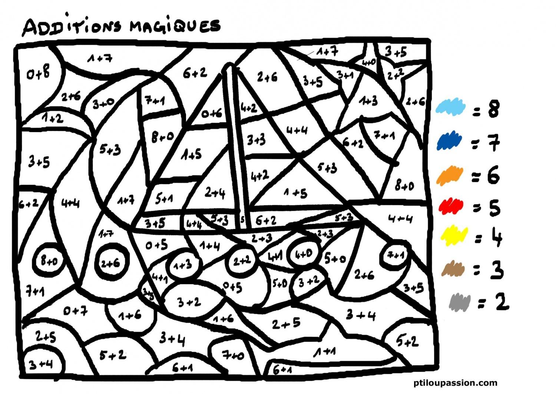 dessin à colorier magique soustraction cp ce1