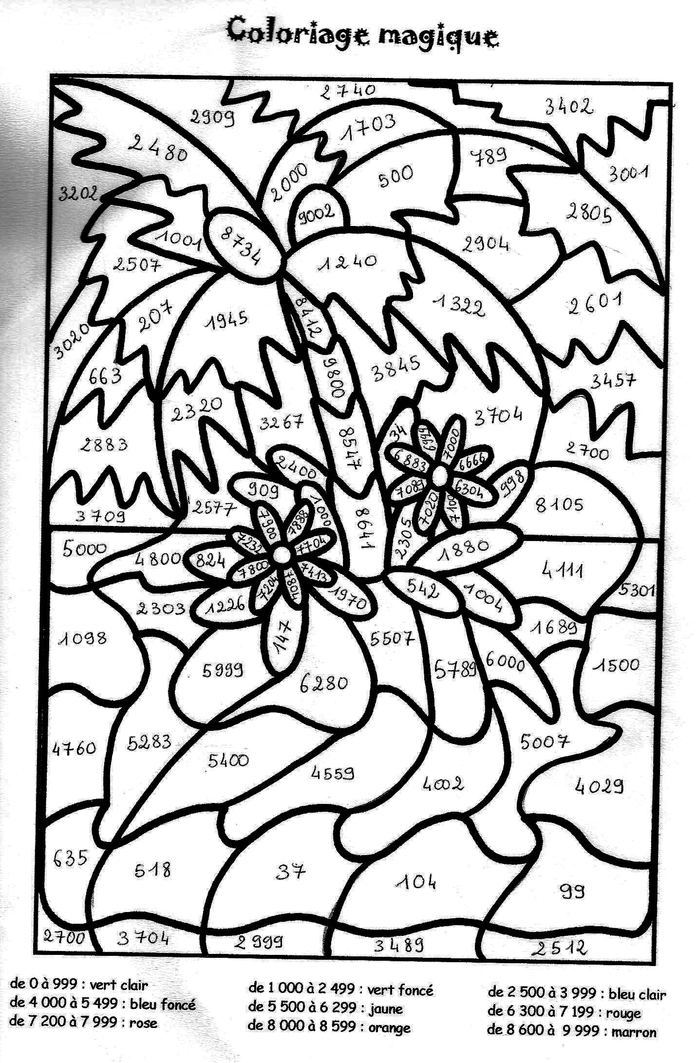 coloriage � dessiner magique soustraction cycle 2
